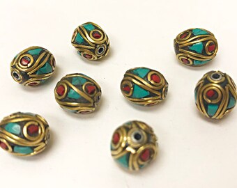 Nepal Brass Turquoise Coral Inlay Bead 12mm x 10mm -2 Beads, Nepal spacer Beads, Nepal beads - TBxx-B