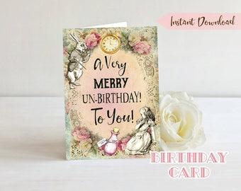 Alice in Wonderland Birthday Card - Printable Birthday Card - INSTANT DOWNLOAD - Alice Birthday Party - Greeting Card - Digital Card