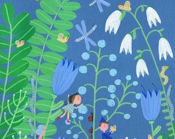 Big garden   Original Illustration , home decor, wall decor, wall art, Valentine's Day gifts
