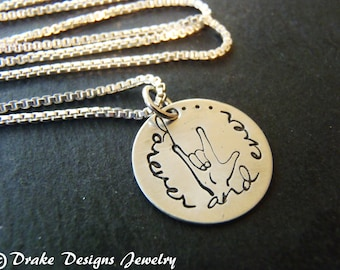 Sterling Silver ASL I love you charm ASL necklace jewelry