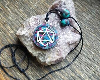 ODESZA Rainbow Reflective Blue Black Pink Glitter Handmade Adjustable Length Pendant Necklace