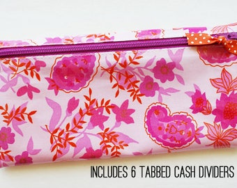 Floral budget wallet with 6 tabbed dividers | pink, fuchsia, dark orange, paisley laminated cotton