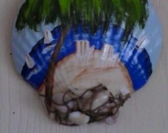 Beach Scene Plaster Hand Painted Sea Shell Sea Shells Decorative Nautical Decor
