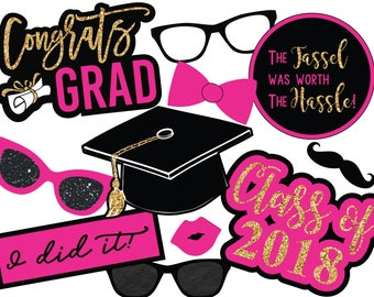 Pink Graduation Photo Booth Props, Instant Download Photo Booth Props, Printable Photo Booth Props, Digital Photo Booth Props, Graduation