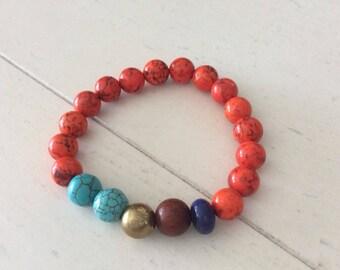Orange Turquoise Howlite Lapis Wood Bracelet