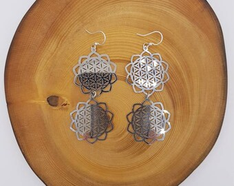 Large drop dangle earrings, 2 stainless steel laser cut  flower charms  hanging on surgical steel ear hooks, sterling silver connectors.