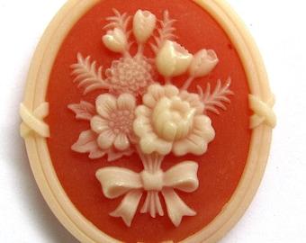 Vintage West Germany Floral Motif Resin Cabochon 40X33 mm 1 piece