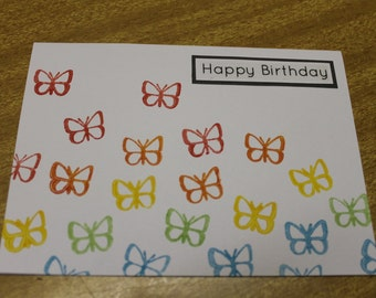 Birthday Card Handmade Rainbow Butterflies