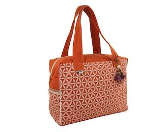 Flower of Life Retreat Bag - Terracotta/Cream