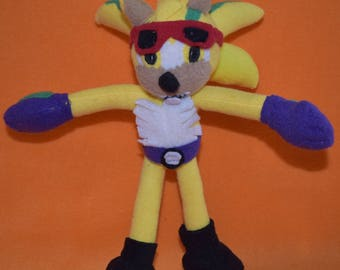 Handmade sonic the hedgehog rocker plush custom-made to order