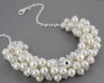 Ivory Cluster Necklace Ivory Necklace Bridesmaids Jewelry Chunky Necklace Bridal Jewelry Wedding Jewelry for Bridesmaid Fashion Jewelry Gift