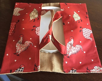 Red and white chicken pie bag