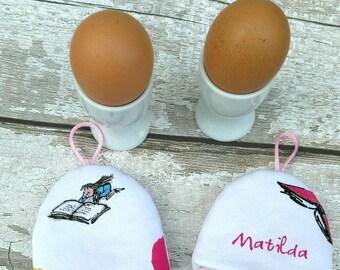 Matilda Egg Cosy set Roald Dahl Quentin Blake Breakfast Easter gift idea Set of 2 egg cosies kid's book theme kitchen decor