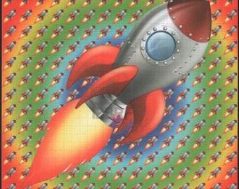 Rocket Ship - Blotter art
