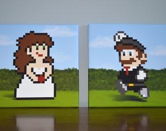 Bride Peach & Groom Mario Canvas Print Set