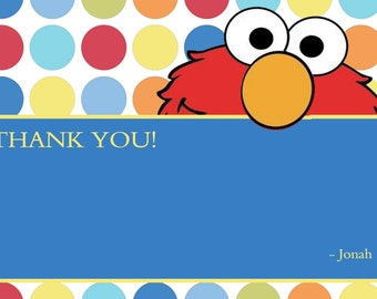 Elmo Blank Thank You Notes Cards Polka Dot Note Diy Print Sesame Street