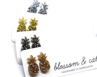 Glitter Pineapple Studs · Gold Pineapple Earring · Silver Glitter Pineapple · Pineapple Earring · Glitter Pineapple