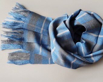 Handwoven merino scarf grey blue women's merino silk scarf, men's scarf, handwoven wrap, blue scarf, plaid scarf, gift for her, wool scarf