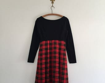 Vintage 90's Red Plaid Grunge Girl Dress S