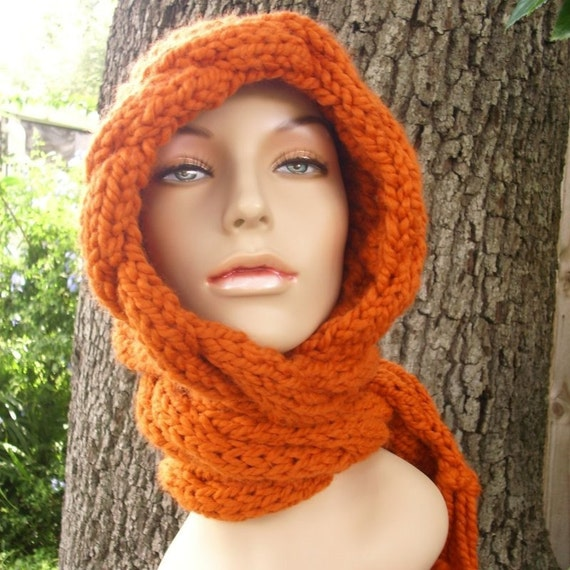 Knit Hat Womens Hat - Orange Cable Scarf Hat in Pumpkin Orange - Orange Hooded Scarf Knit Hat - Orange Scarf Orange Hat Womens