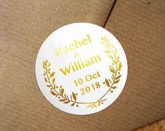 Personalized Gold Foil Wedding Labels, Personalized Sticker Labels, Wedding Sticker, #02
