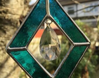 Stained Glass Suncatcher Teal Blue Colour Art Diamond Shape Color - CRhodesGlassArt
