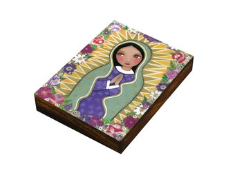 Our Lady of Guadalupe, Art  Painting, Print Mounted On the Wood (size 3 6/8 x 4 4/8, 8.5x11.5 cm), Mixed Media, Wall Decore by Evona