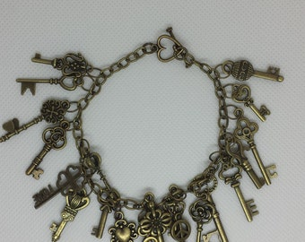 Steampunk Style Bronze Key Charm Bracelet