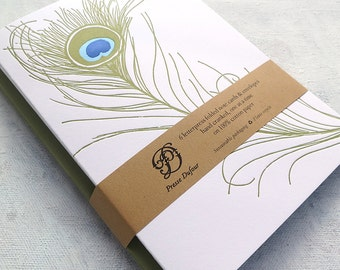 Letterpress Note Card Set - Peacock Feather (Set of 5)