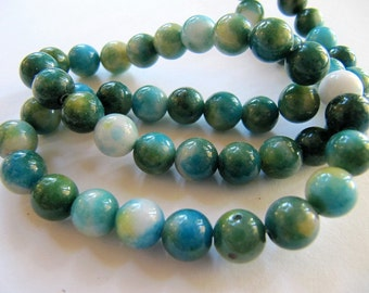 8mm JADE Beads in Green, Turquoise Blue, Teal, Cream, Dyed, Round, Full Strand, 52 Pcs, Multi Colored Gemstones, Candy Jade, Mountain Jade