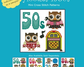 Hooties 1950s Cross Stitch Pattern PDF Chart