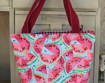 Reversible Watermelon summer shoulder bag/Tote ,  padded market bag, book bag