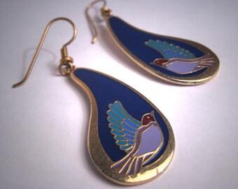 Vintage Laurel Burch Earrings Enameled Birds Dangle Drop Beautiful!