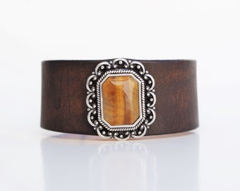 Leather Cuff in Hand-Dyed Dark, Weathered Brown  + Obling Tiger Eye Accent - Boho Chic Festival Gypsy Country Western Made in the South