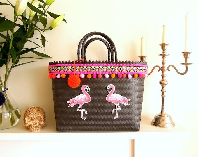 Flamingo market bag - Tropical flamingo pom pom bag - Pink pom pom woven basket - Flamingo market bag - Large beach basket