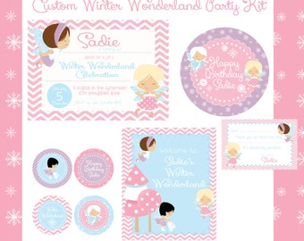 Winter Fairy Birthday Party Kit, Printable Party Kit, Christmas Party, Winter Wonderland Party, Custom