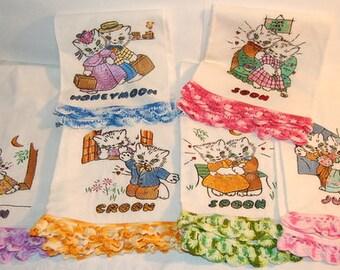 40s Newlywed Kitten Cat Linen Embroidered Crochet Towel Set 6 NOS Very Rare Vintage Wedding Shower Honeymoon Gift