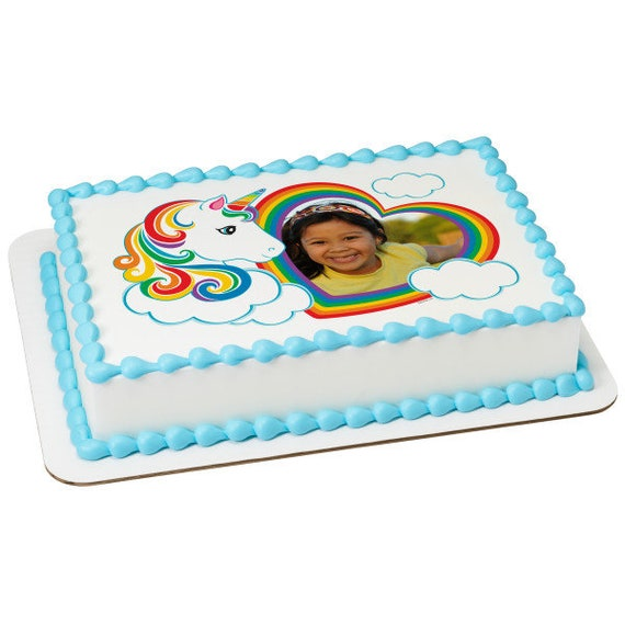 Rainbow Unicorn Birthday - Edible Cake and Cupcake Photo Frame For Birthdays and Parties! - D24118