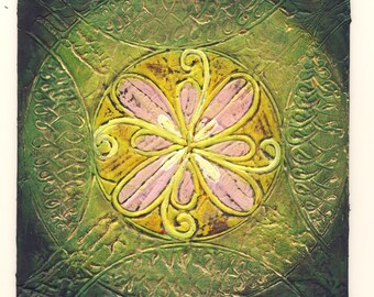 May 20 - Original Abstract Rangoli Textured Painting on Mat Board 5x5 inch / Green / Yellow / Pink / Gold / Bohemian Decor Green and Gold