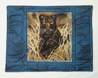 Leopard Snack Mat, Quilted Place Mat, Animal Drink Mat, Coffee Drink Mat, Quilted Mug Rug, Quilted Snack Mat, Blue Mug Rug, Sewnsewsister