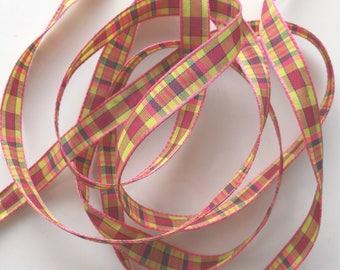 Fancy x 5 m - PLAID green and pink No. 1441 Ribbon