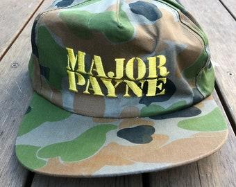 Vintage 1995 Major Payne Damon Wayans Embroidered Movie Promo Camouflage Snap Back Cap Retro Camo Streetwear 90's Movie Major Payne Souvenir