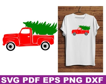 red truck with christmas tree svg, red truck with christmas tree, red truck svg, truck with tree svg, christmas svg files, vintage truck svg