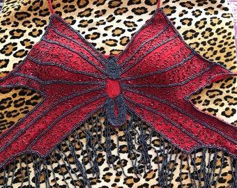 Vintage Beaded Butterfly Halter