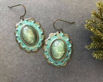 Boho Earrings Turquoise Blue Statement Earrings Patina Bold Antique Brass Oval Mother's Day Gift For Her