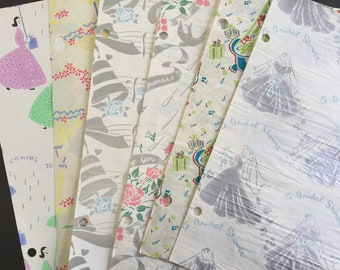 Vintage Bridal shower wrapping paper, assortment of 6 sheets