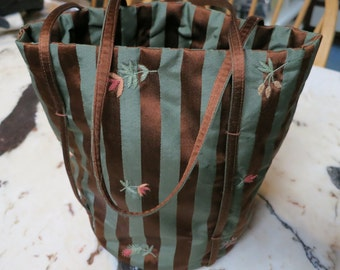 Striped Silk Embroidered NEEDLEWORK Project Bag
