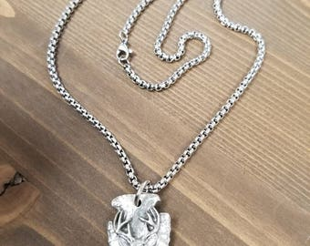 Little D Designs Arrowhead Antler Buck Deer Head Mens Hunting Pendant Necklace Stainless Steel Chain Men's Hunting Jewelry USA Free Shipping