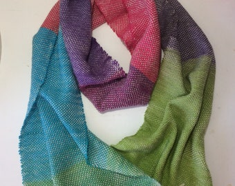 Long scarf in multi color, hand made using weaving machine acrylics, soft
