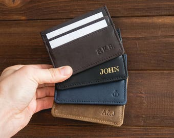 Leather card holder wallet personalized wallet minimalist wallet mens leather wallet front pocket wallet slim wallet groomsmen gift.